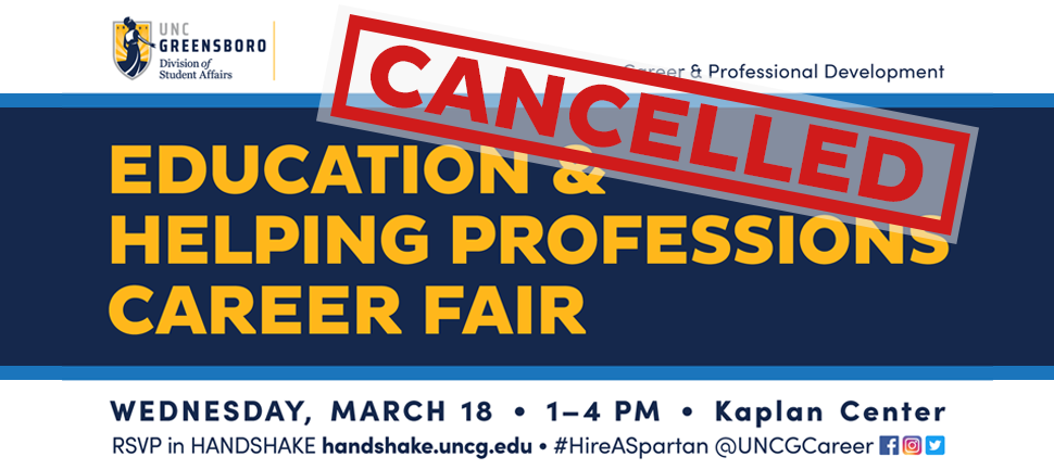 Education Career Fair Co-Sponsored by UNCG and NC A and T, March 14th, 1-4:30pm, Kaplan Center, UNCG Students RSVP in SpartanCareers